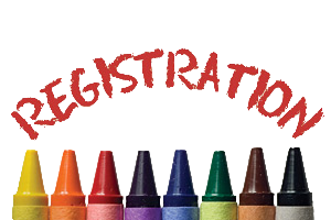 registration written in red with yellow, orange, red, purple, blue, green, brown, and black crayons at bottom