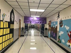 3rd grade hallway with signs and decorations to look like Neverland