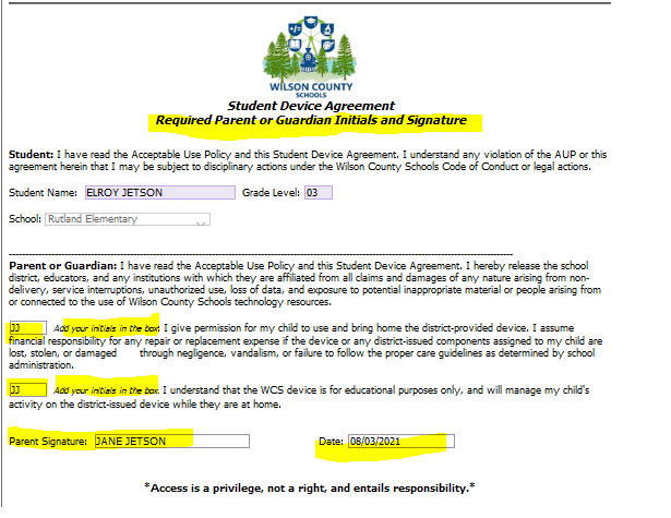 Student Device Agreement with highlighted sections