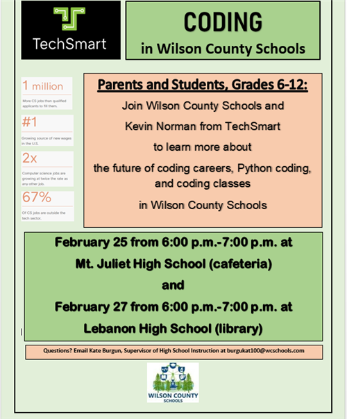 Coding in Wilson County Schools February 25 from 6-7 PM at MJHS
