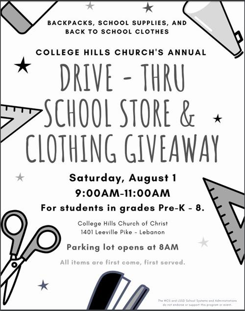 Drive-Thru School Store and Clothing Give A Way