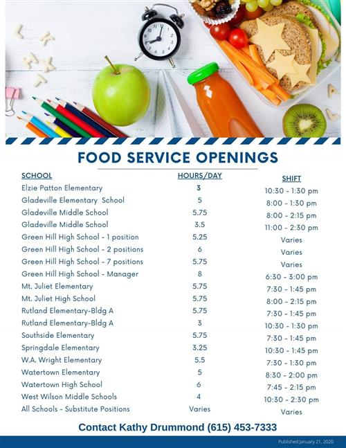 Food Service Openings